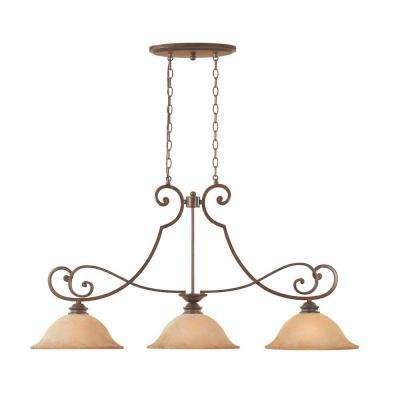 Vienna 3-Light Forged Sienna Hanging Island Light