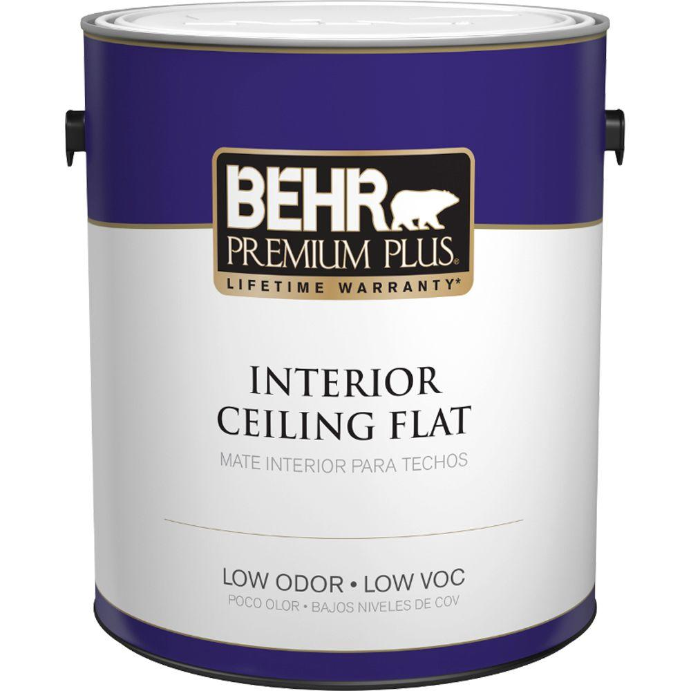 behr premium plus 1 gal white flat ceiling interior paint 55801 the home depot