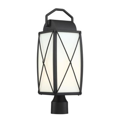 Fairlington 1-Light Black Outdoor Post Lantern with Etched White Glass Shade