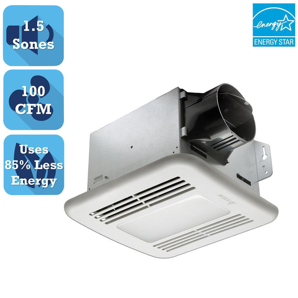 Delta Breez Greenbuilder Series 100 Cfm Ceiling Exhaust Bath Fan With Dimmable Led Light
