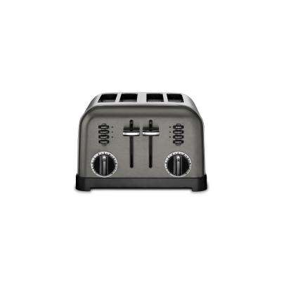 Classic 4-Slice Black Stainless Steel Wide Slot Toaster with Crumb Tray