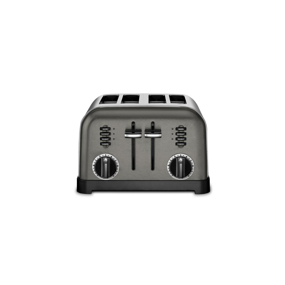 Classic 4-Slice Black Stainless Steel Toaster