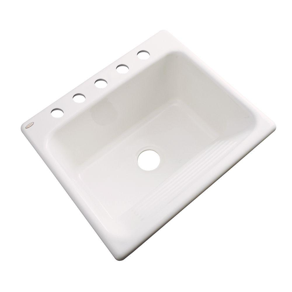 Kensington Drop-In Acrylic 25 in. 5-Hole Single Bowl Utility Sink in