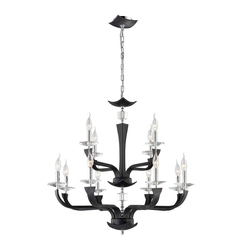Pella Collection 12-Light Chrome and Black Chandelier