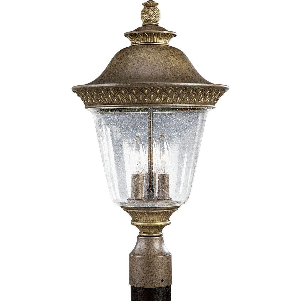 Progress Lighting Savannah 3-Light Outdoor Burnished Chestnut Post Lantern