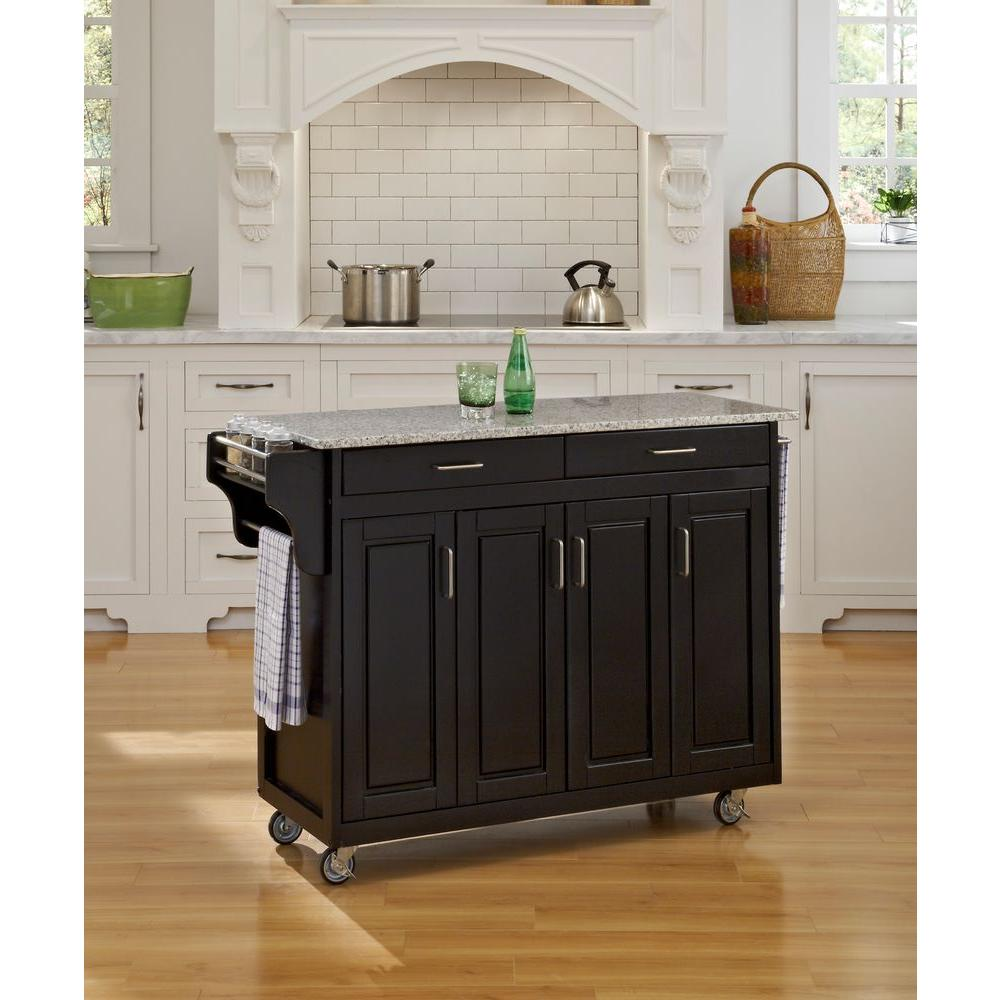 Home Styles Create A Cart Black Kitchen Cart With Salt And Pepper Granite  Top