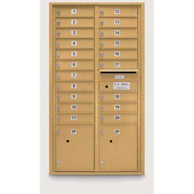 20-Door Standard 4-Compartment Mailbox with 2 Parcel Lockers in Gold