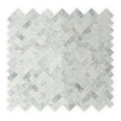 Ocean White and Gray 12 in. x 11.69 in. x 5 mm Stone Self Adhesive Mosaic Wall Tile (11.69 sq. ft. / case)