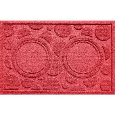 Solid Red 18 in. x 27 in. Dog Bowl Dots Polypropylene Pet Mat