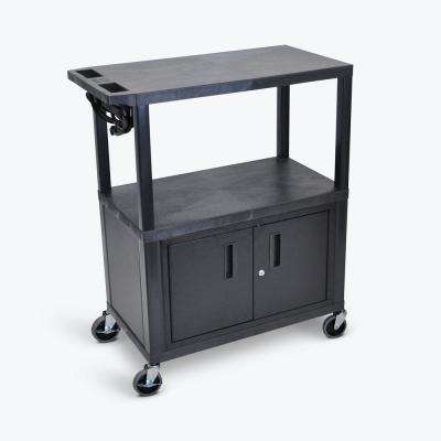 EA 32 in. Presentation Cart with Cabinet in Black