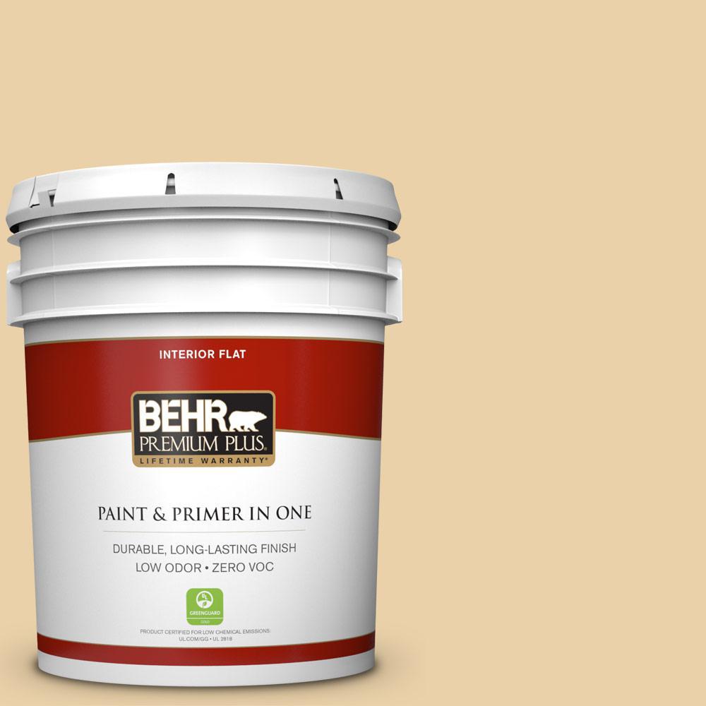 BEHR Premium Plus 5 gal. #350F-4 Quiet Veranda Flat Zero VOC Interior Paint and Primer in One