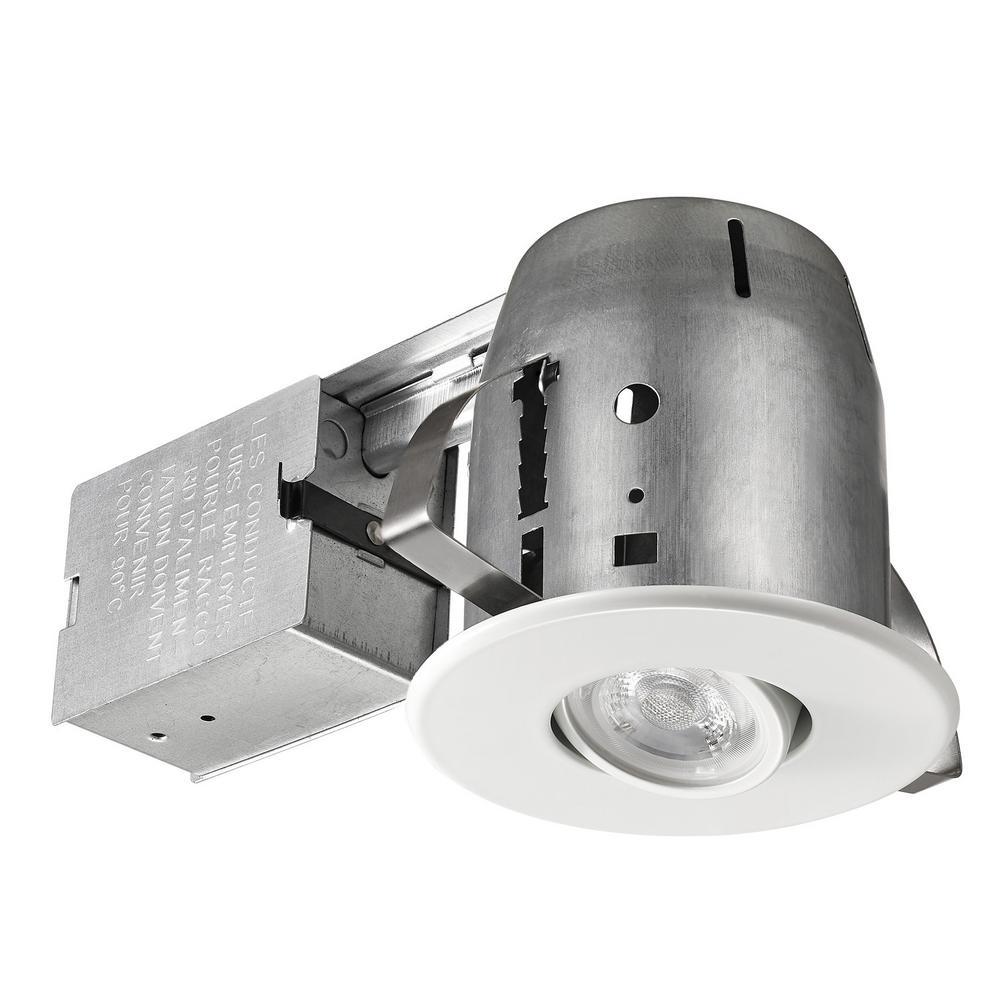 Bathroom Recessed Lighting Kit: Lithonia Lighting 4 In. Matte White GU10 Glass Recessed