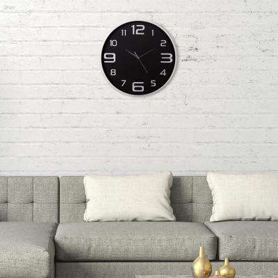 Silver and Black Wall Clock
