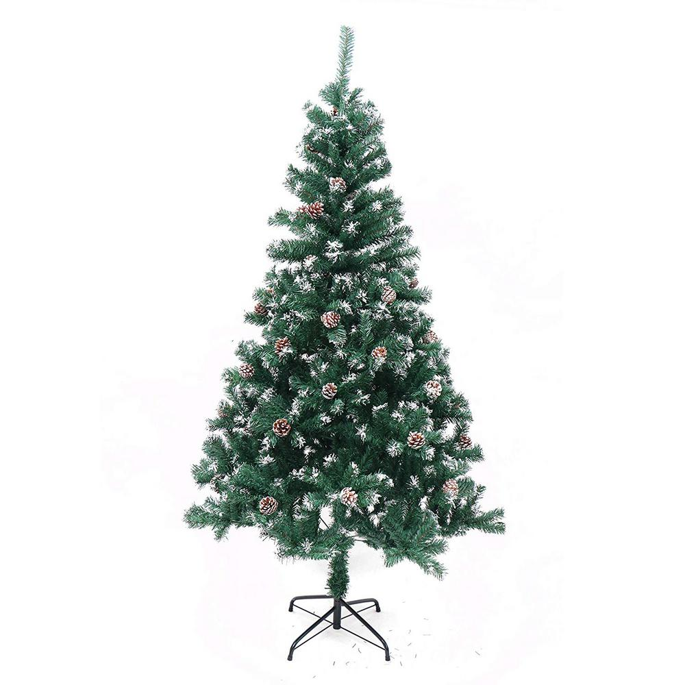 Artificial Christmas Tree With Pine Cones: ALEKO 6 Ft. Unlit Flocked Artificial Christmas Tree With