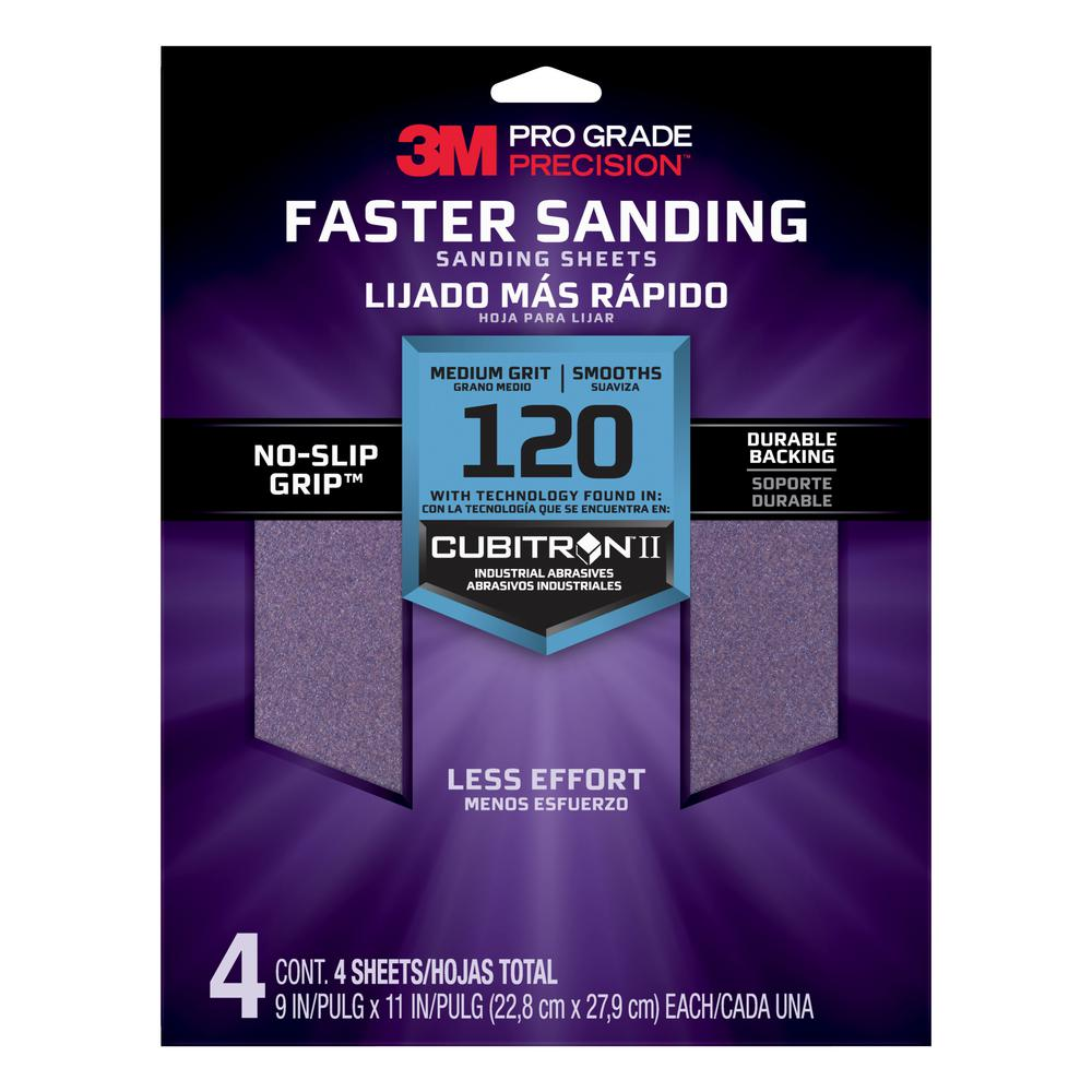 3M Pro Grade Precision 9 in. x 11 in. 120 Grit Medium Advanced Sanding Sheets (4-Pack)
