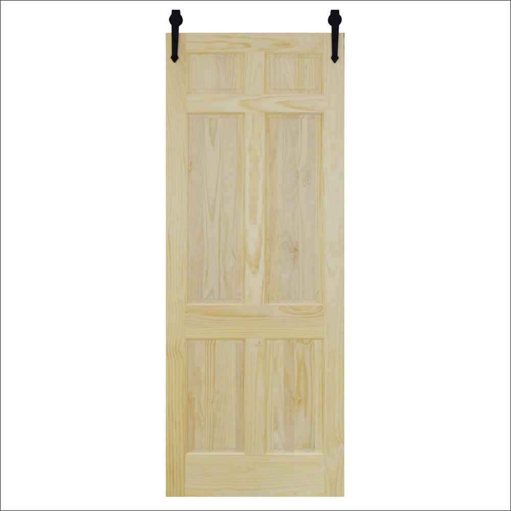 Steves u0026 Sons 36 in. x 96 in. 6-Panel Unfinished Pine Barn & Steves u0026 Sons 36 in. x 96 in. 6-Panel Unfinished Pine Barn Door with ...