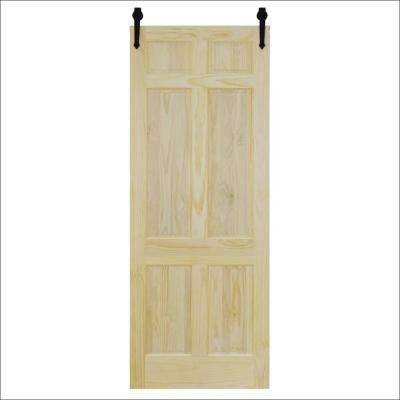 36 in. x 96 in. 6-Panel Unfinished Pine Barn Door with Black Sliding Door Hardware Kit