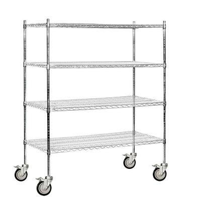 60 in. W x 69 in. H x 24 in. D Industrial Grade Welded Wire Mobile Wire Shelving in Chrome