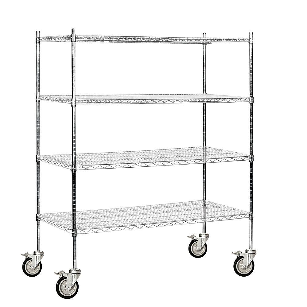 Salsbury Industries 9500M Series 60 in. W x 69 in. H x 24 in. D Industrial Grade Welded Wire Mobile Wire Shelving in Chrome