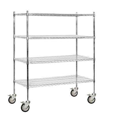 9500M Series 60 in. W x 69 in. H x 24 in. D Industrial Grade Welded Wire Mobile Wire Shelving in Chrome