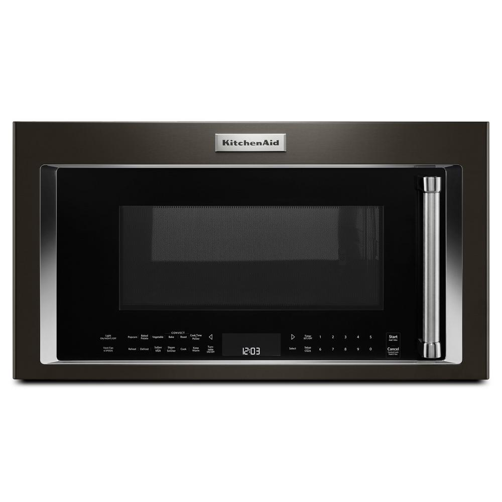 KitchenAid 1.9 cu. ft. Over the Range Convection Microwave in Black on kitchenaid dishwasher replacement panel, samsung microwave control panel, ge microwave control panel, oven control panel, sub-zero refrigerator control panel, kenmore microwave control panel, asko dishwasher control panel, sharp microwave control panel,