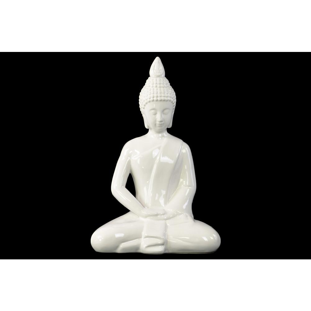 11.5 in. H Buddha Decorative Figurine in White Gloss Finish