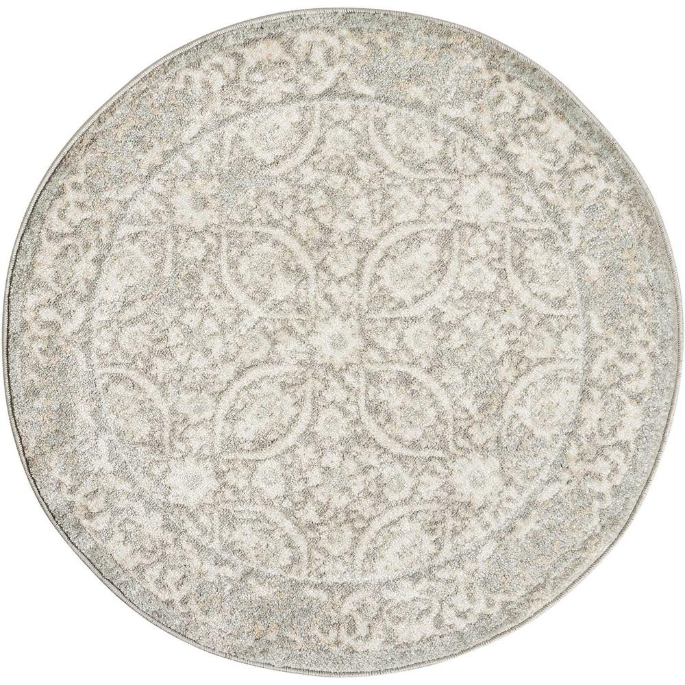 nourison euphoria grey 3 ft 4 in round area rug 366382 the home depot. Black Bedroom Furniture Sets. Home Design Ideas