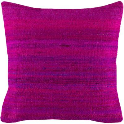 Manisha Fuchsia Solid Polyester 18 in. x 18 in. Throw Pillow