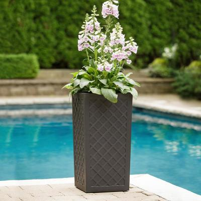 Vitality 13.5 in. W x 26.5 in. H Square Slate Rubber Self-Watering Planter