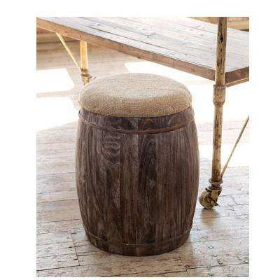 20 in. Barrel Accent Stool in Reclaimed Pine