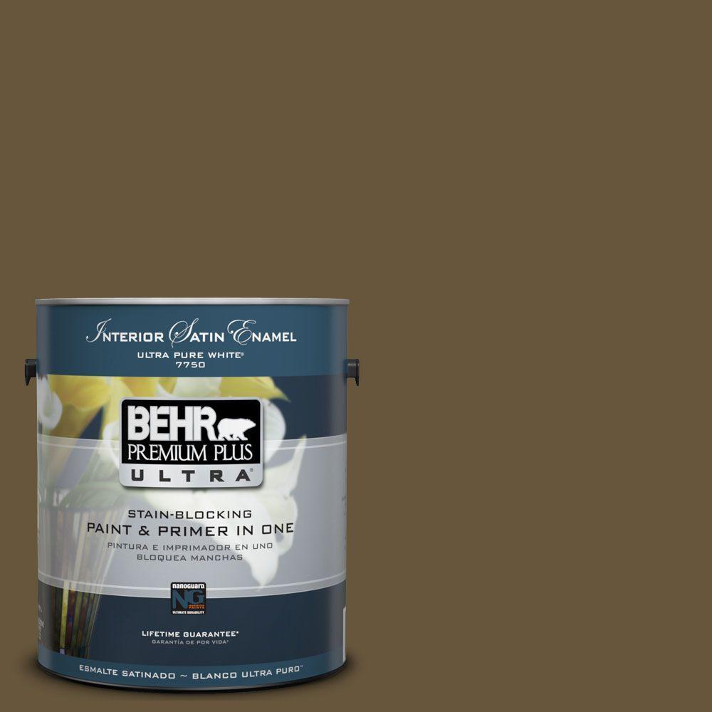 BEHR Premium Plus Ultra 1-Gal. #UL180-1 Moss Stone Interior Satin Enamel Paint