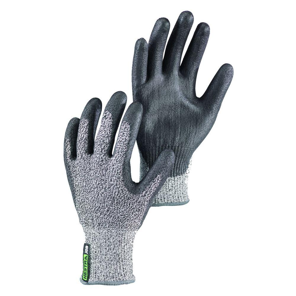 Hestra JOB Galli Cut Size 9 Large Tear Resistant PU Dipped Breathable Nylon Glove in Grey