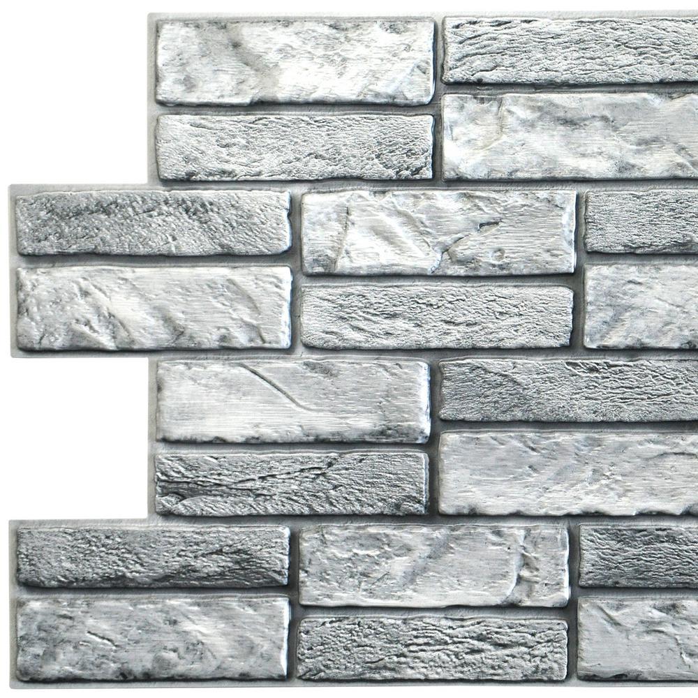 3D Falkirk Retro 10/1000 in. x 38 in. x 19 in. Grey Faux Old Brick PVC Wall Panel