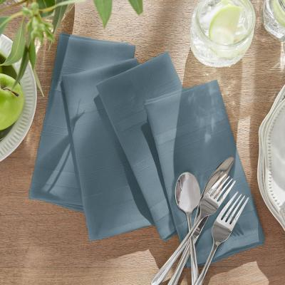 17 in. W x 17 in. L Elrene Elegance Plaid Damask Blue Shadow Fabric Napkins (Set of 4)