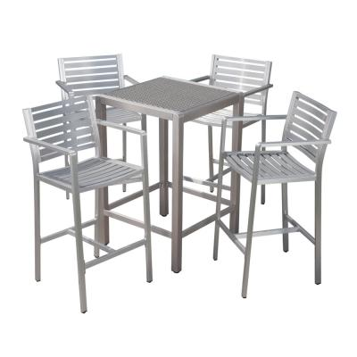 Cape Coral Silver 5-Piece Aluminum Outdoor Bar Height Bistro Set with Gray Wicker Top Table