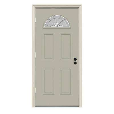 Langford Fan Lite Painted Premium Steel Prehung Front Door with Brickmould
