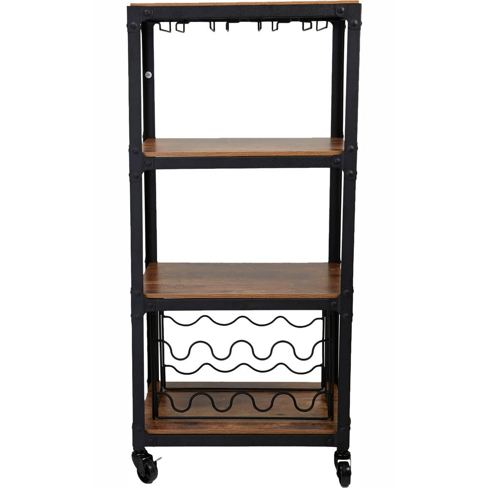 Mind Reader 8-Bottle, 4-Tier Black/Wood Metal Food and Wine Cart with Wine Glass and Bottle Storage Sick of keeping wine in the basement or in a secret spot while your wine cups are stored away, Stop going back and forth with this 4-tier cart. It has a wine bottle holder and a wine glass holder. No need to go back and forth getting wine and glasses, have it all in one spot. You can even put other kitchen supplies like snacks and drinks on the wooden tiers.