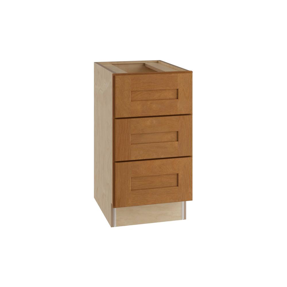 Hargrove Assembled 15x28.5x21 in. 3 Drawers Base Desk Cabinet in Cinnamon