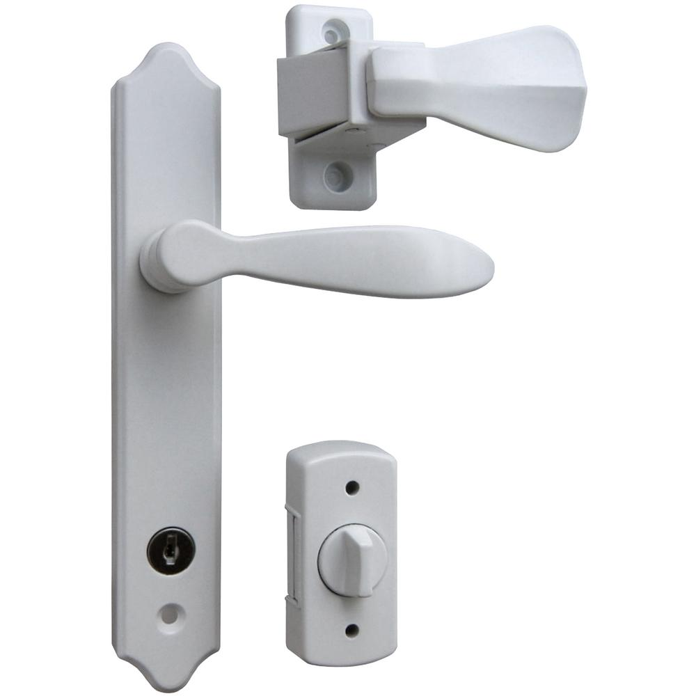 Deluxe White Storm Door Handle Set with Deadbolt