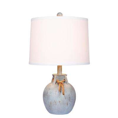 Blue table lamps lamps the home depot antique blue distressed jug with rope collar resin table lamp aloadofball Choice Image