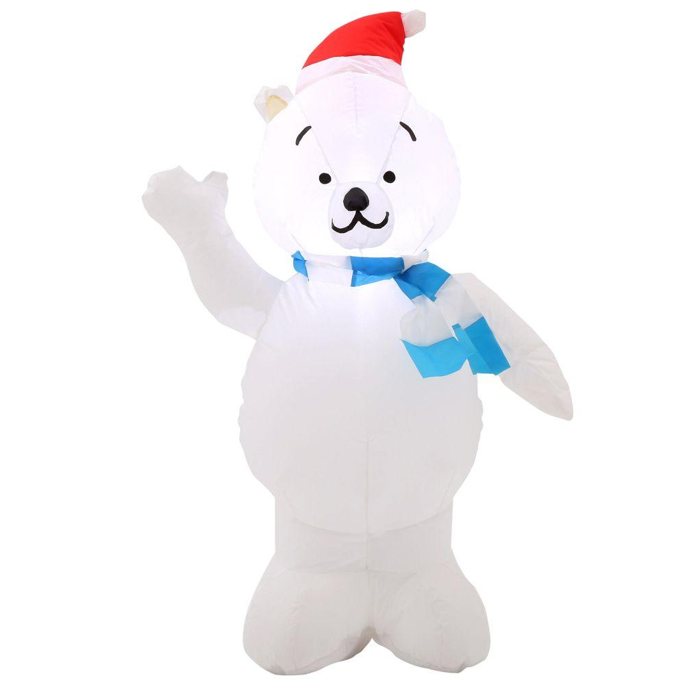 290bcf36074c4 Home Accents Holiday 42 in. H inflatable Polar Bear in Santa Hat ...