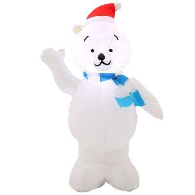 42 in. H inflatable Polar Bear in Santa Hat