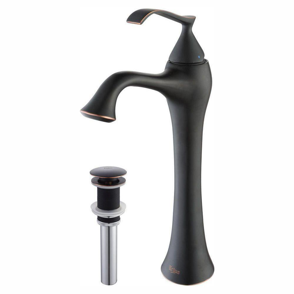 KRAUS Ventus Single Hole Single-Handle High-Arc Vessel Bathroom Faucet with Matching Pop-Up Drain in Oil Rubbed Bronze