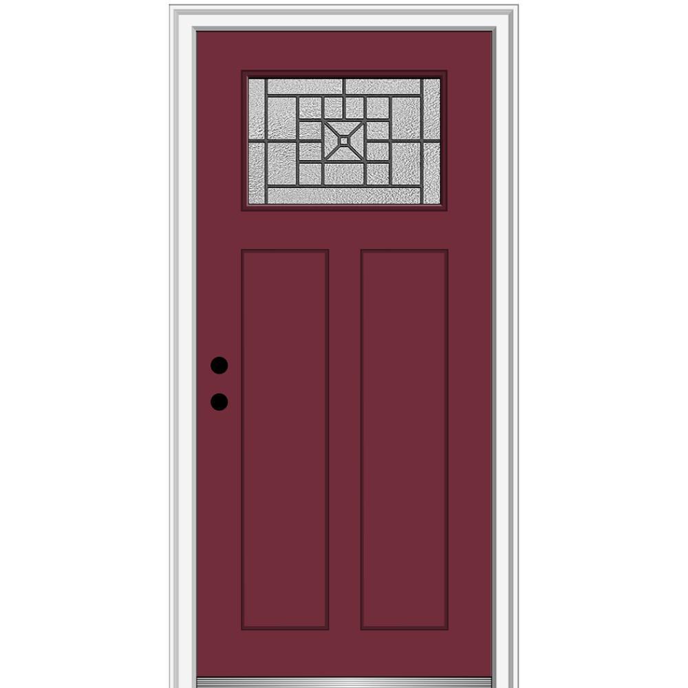 MMI Door 36 in. x 80 in. Courtyard Right-Hand 1-Lite Decorative Craftsman Painted Fiberglass Prehung Front Door, 4-9/16 in. Frame, Burgundy/Brilliant was $1444.56 now $939.0 (35.0% off)