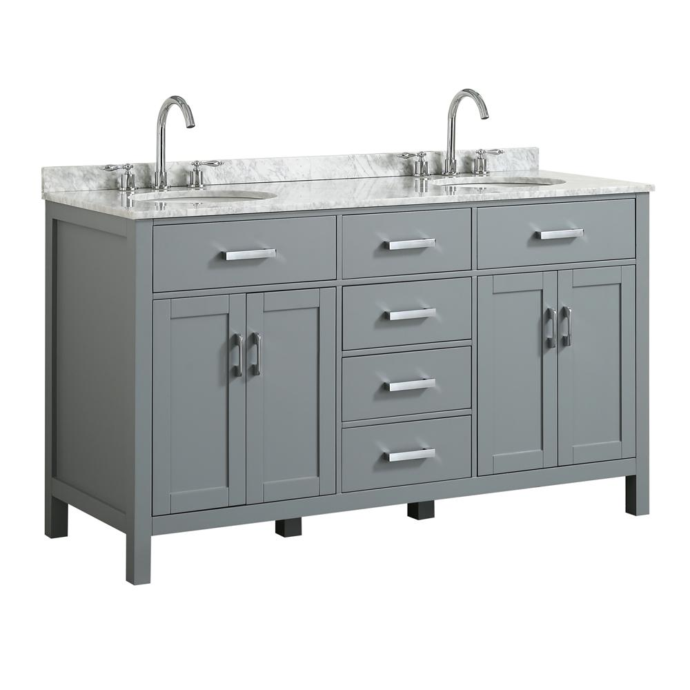 Belmont Decor Hampton 61 In W X 22 D Bath Vanity Grey With Marble Top White Basin