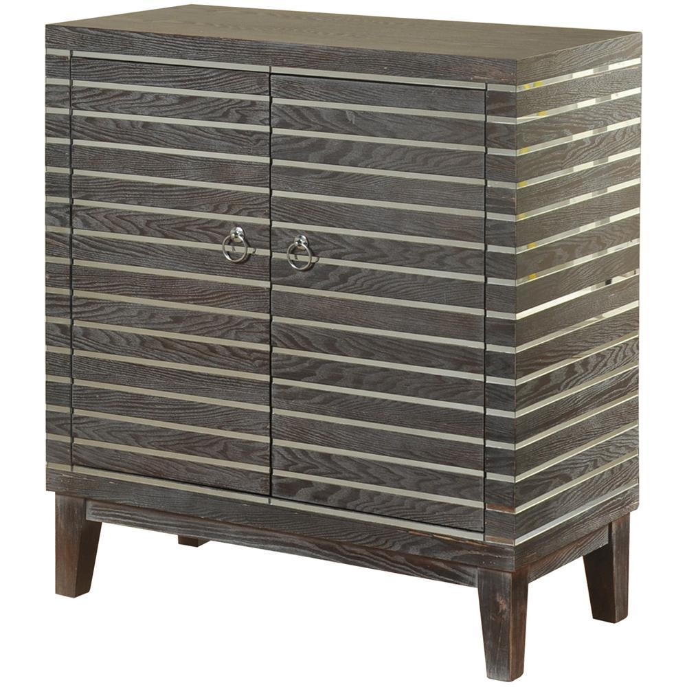 Graphite Grey Horizontal Mirror Strips 2-Door Cabinet