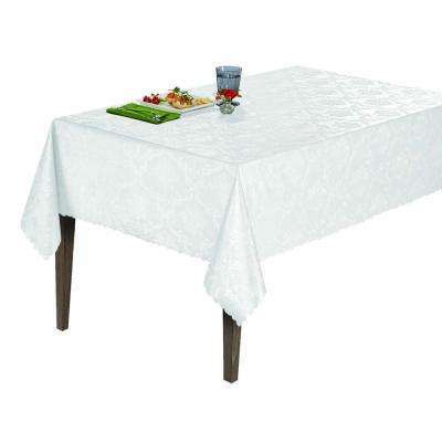 55 in. x 102 in. Indoor and Outdoor White Damask Design Table Cloth for Dining Table