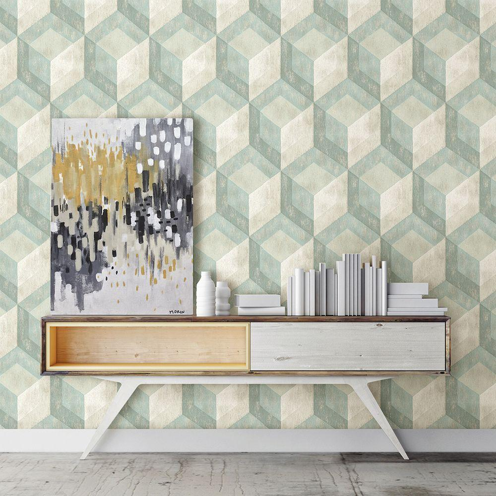 Green Rustic Wood Tile Geometric Wallpaper