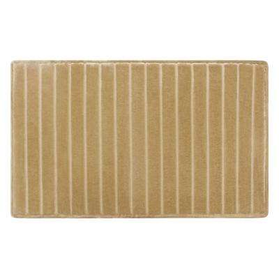 21 in. x 34 in. Velvet Charcoal-Infused Memory Foam Bath Mat in Linen