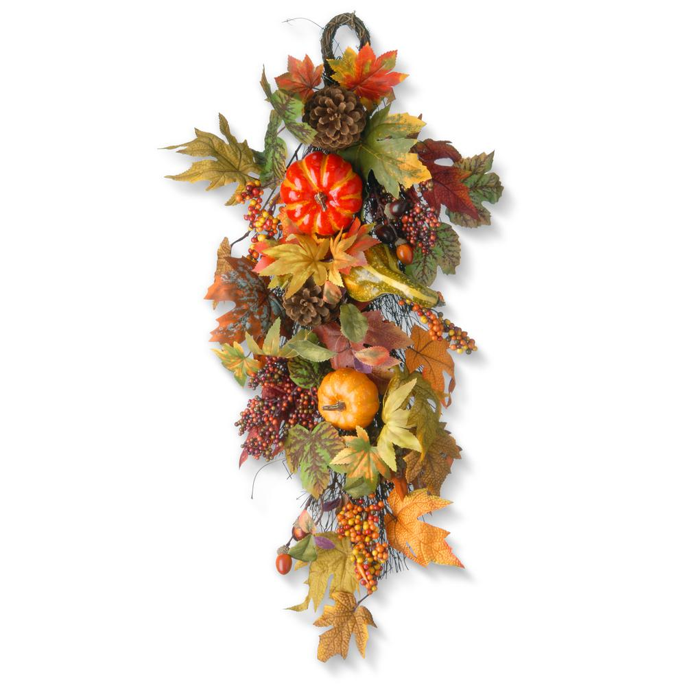 National Tree Company 26 in. Maple Leaf Teardrop with Pumpkins